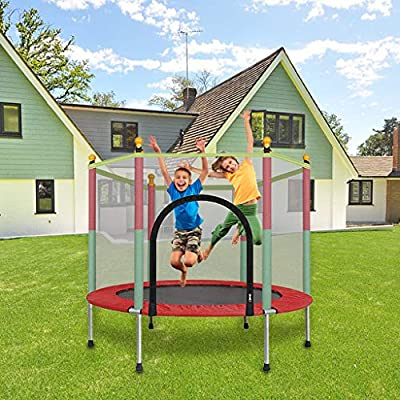 m·kvfa 5FT Kids Trampoline with Enclosure Net Jumping Mat and Spring Cover Padding Indoor Outdoor Yard Trampolines for Children