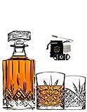 CRONAN 6PC Irish Crafted Crystal Whiskey Decanter & Whiskey Glasses Set, Crystal Decanter Set With Accessories, 100% Lead Free Whiskey Glass Set
