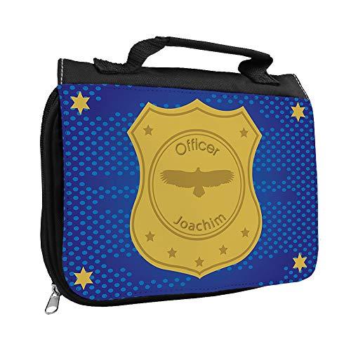 Kulturbeutel mit Namen Joachim und Officer-Motiv | Kulturtasche mit Vornamen | Waschtasche für Kinder