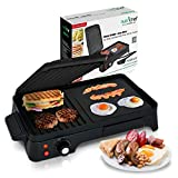 NutriChef Electric Griddle - Crepe Maker Hot Plate Cooktop with Press Grill for Paninis, Ones size, Black
