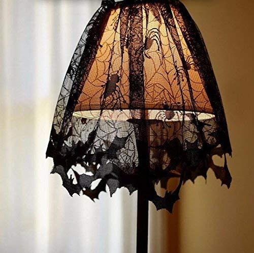 Preisvergleich Produktbild Ogquaton Halloween Lace Gothic Style Lampenschirme Schwarze Fledermäuse Spinnen Lampenschirm Halloween Party Dekorationen Langlebig und nützlich