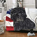 NIUJINMALI Funny Cute American Flag Stripes Dog Pet Affenpinscher Super Soft Plush Cozy Warm Flannel Throw Blanket All Season for Couch Bed Sofa Camping Kids AdultsLarge 80 x 60 Inch(Queen) Adults