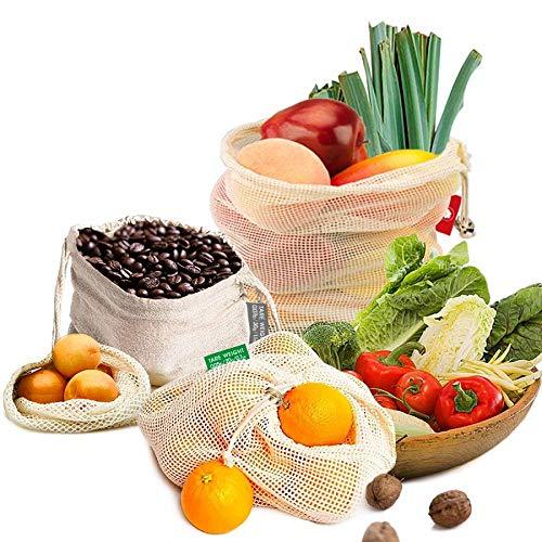 EzLife Bolsas Compra Reutilizables Ecológicas, Bolsas Reutilizables Fruta y Verdura 100% Algodon Lavable y Transpirable Bolsa de Malla para Almacenamiento Fruta Verduras Juguetes-10 Piezas