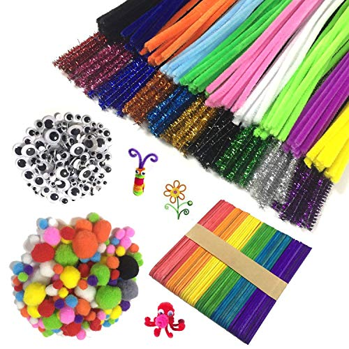 Wartoon Pipe Cleaners Crafts Set, limpiapipas Chenille Stem y pompones con Googly Wiggle Eyes y Craft Sticks para Craft DIY Art Supplies, 650pcs