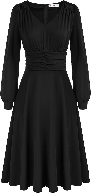 LIUMILAC Women Deep V Neck Adjustable Strap Dress Ruched Waist A Line Dresses