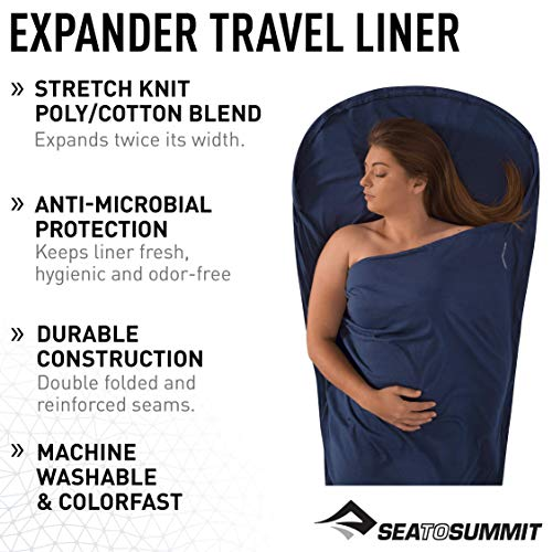 Sea to Summit Premium Stretch Knit Expander Liner (Traveler w/Pillow Insert 88' x 31') - Navy Blue