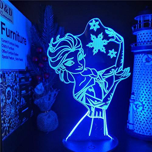 Lámpara de ilusión 3D, luz de noche LED, lámpara visual de princesa congelada de Disney, figura de acción de Anna Elsa Olfa, lámpara de mesa acrílica, decoración del hogar, juguetes para niños