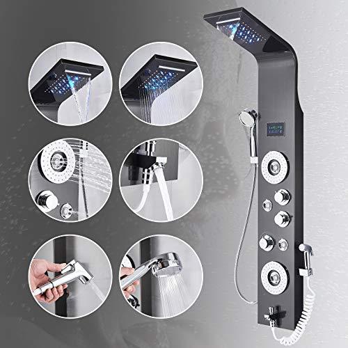 LED Duschpaneel Tower System 304 Edelstahl 6 Funktion Duschsäule mit LCD Temperaturanzeige Regendusche Wasserfall Duschkopf Massagedüsen Handbrause Wanne Auslauf und Bidet Duschsystem Schwarz