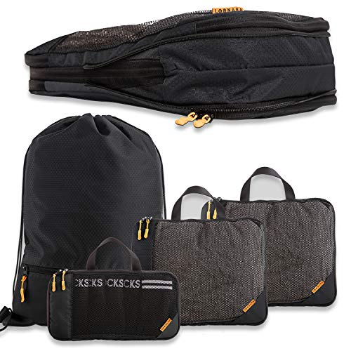 Kleidertaschen-Set mit Kompression für Rucksack und Koffer (4-teilig) I Compression Packing Cubes I Packwürfel für Deine Backpacking-Reise I travel Bags I Kompressionsbeutel für Backpack