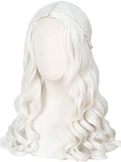 Linfairy Women Girl's White Blonde Long Wavy Wig Halloween Cosplay Costume Queen Wig Adult