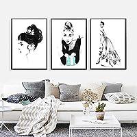 ティファニーで朝食をとるオードリー・ヘプバーン北欧のキャンバスファッションガールズルームのポスターと版画絵画の写真家の装飾-40x50cmx3フレームなし
