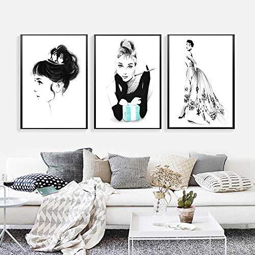 Audrey Hepburn Frühstück bei Tiffany Wandkunst Nordic Canvas Mode Mädchen Zimmer Poster und Drucke Gemälde Bilder Wohnkultur - 40x60cmx3 (ohne Rahmen)