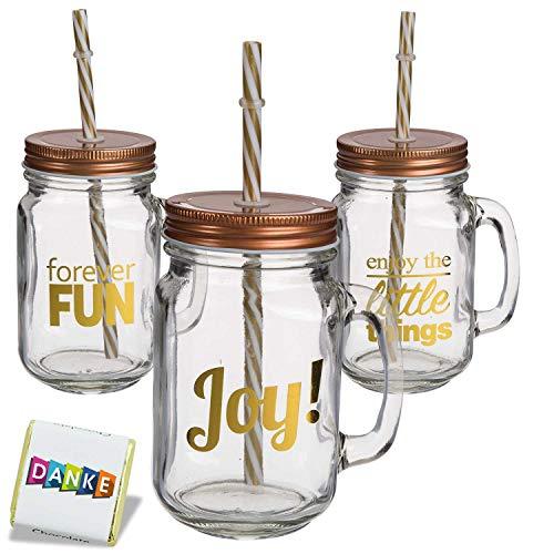 6 Trinkgläser Joy & Fun Einmachglas mit Henkel Marmeladenglas Sommer Picknick