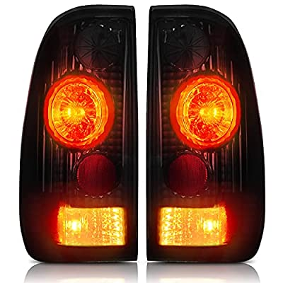 AUTOSAVER88 Taillights Compatible with 1997-2003 Ford F150 (Fits Styleside Models ONLY), 1999-2007 Ford F-250 F-350 Super Duty Pickup Truck, Black Smoke Driver and Passenger Side Tail Lights