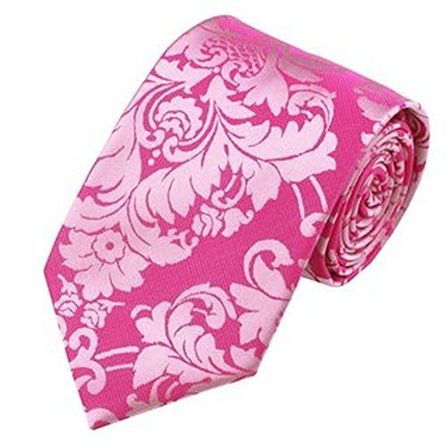 Jason & Vogue Designer Cravate en rose avec fleurs de couleur rose