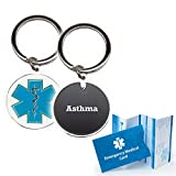 Pre-Engraved'Asthma' Medical Alert Identification Star of Life Cloisonné' Keychain
