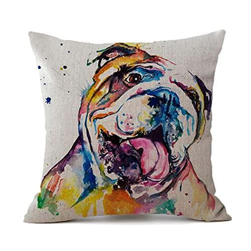 BANIKOP Funda de cojín para Perro, Funda de Almohada con Estampado de Bulldog francés, Funda de Almohada para decoración del hogar de Lino de Bulldog