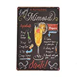 PEI's Cocktail Recipe Tin Metal Signs, Margarita, Martini, Mojito, Mimosa, 8x12 inch, Home and Bar...