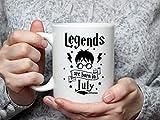 Tazza da caffè divertente con scritta 'Legend'S are Born in July in ceramica da 325 ml Travl
