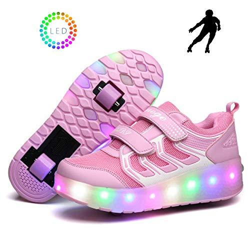 YURU Heelies USB-Gebühr LED Bunte Kind-Kind-Art- Und Weiseturnschuhe Mit Zwei Rad-Rollschuh-Schuhen Jungen-Mädchen-Schuhen,Pink-EU37