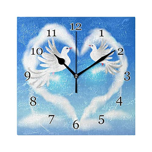 Reloj de Pared de Paloma con corazón de San Valentín, Reloj de Pintura de Arte Cuadrado silencioso sin tictac para decoración de la Escuela de la Oficina en casa