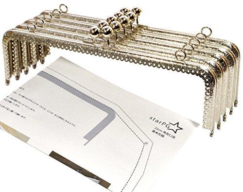 starPG 大型 がま口 口金 25cm 角型 5個 セット 型紙付き ハンドメイド用 (シルバー F型)