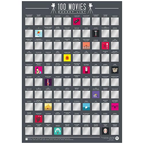 Gift Republic Film 100–Scratch off Bucket List Poster, Nero