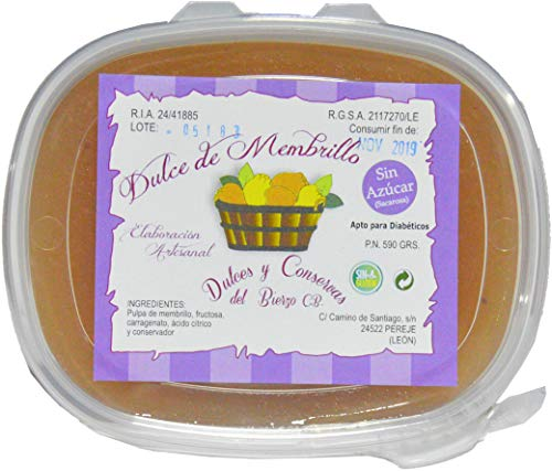 Membrillo Artesano Sin Azúcar Añadido Del Bierzo Peso. 600Gr. (Tarrina)