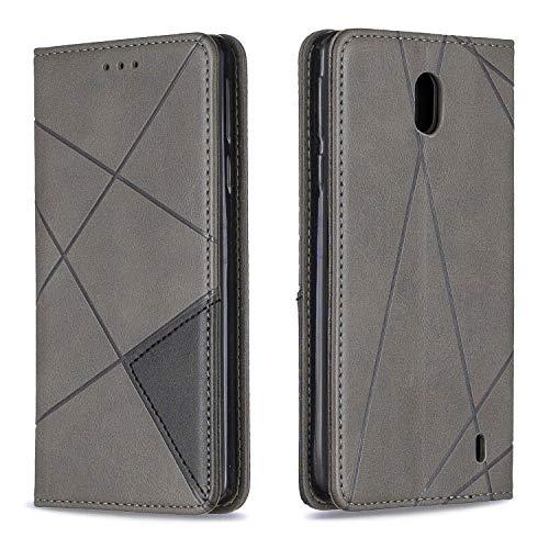 Boloker Coque pour Nokia 1 Plus [avec Protecteur d'écran en Verre Trempé], Rétro Etui Flip Coque avec Silicone TPU et Fonction Support Fermeture Aimantée Carte (Gris)