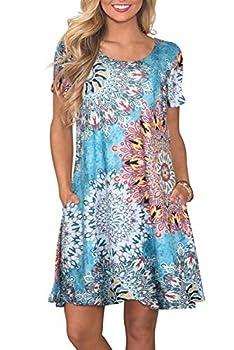 FZ FANTASTIC ZONE Women s Casual Summer T Shirt Dresses Short Sleeve Swing Dress with Pockets
