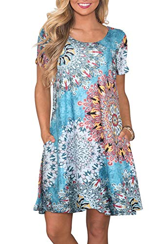 Bequemer Laden Sommerkleid Damen Casual Lose Kurzarm T-Shirt Kleider Knielang Freizeitkleid Tunika Einfarbig/Blumen Elegant Swing Kleid mit Taschen,Y-Drücken Blau,XL
