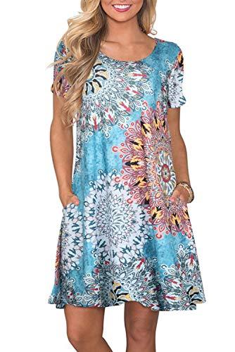 Bequemer Laden Sommerkleid Damen Knielang Kleid Sommer Kleider T-Shirt Tunika Kurzarm Freizeitkleid Blumen Elegant Swing mit Taschen