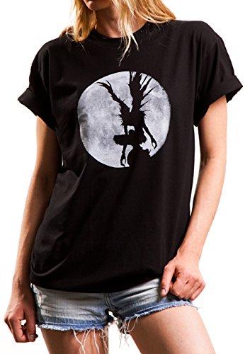 MAKAYA Frikis Oversize Top Manga Corta - Shinigami Death - Camiseta para Mujer Talla Grande Negro M