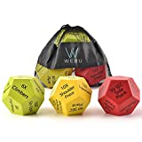 WEBU 3-Pack Exercise Dice with Manual | Amazing for Full Body Workouts, Cross fit Game, HIIT, Cardio, Yoga, Stretching, Strength Training, Bodybuilding, Fitness, Crossfit and Body Weight Workout.