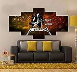 104Tdfc 5 Pieza Cuadro En Lienzo Regalo Halloween Set de Arte en Lienzo de Metallica   Música Impresión Lienzo 5 Piezas Cuadros Lienzo Modular Póster,Talla:150X80Cm niños Habitación Decoración