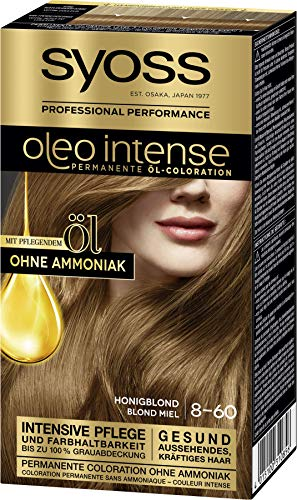 SYOSS Oleo Intense Permanente Öl-Coloration 8-60 Honigblond, mit pflegendem Öl & ohne Ammoniak, 3er Pack (3 x 115 ml)