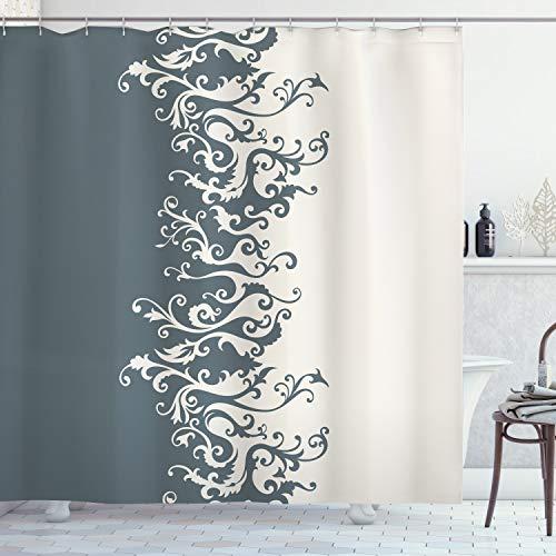 ABAKUHAUS Vintage Blumen Duschvorhang, Antik Barock, Wasser Blickdicht inkl.12 Ringe Langhaltig Bakterie & Schimmel Resistent, 175 x 200 cm, Anthrazit Grau Beige