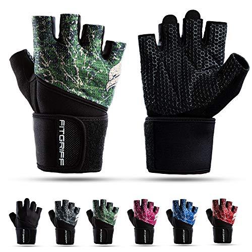 Fitgriff® Fitness Handschuhe V2, Trainingshandschuhe, Sporthandschuhe für Damen und Herren, Krafttraining, Kraftsport, Training, Sport, Gym, Workout Gloves (Green, 7)
