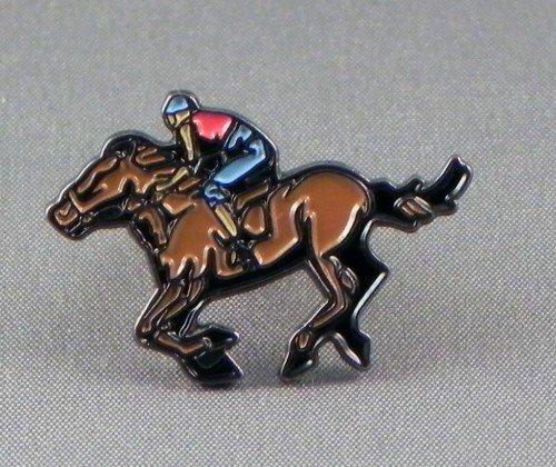 Anstecknadel, Metall, Email, Motiv Pferd und Jockey Horse Racing Equestrian