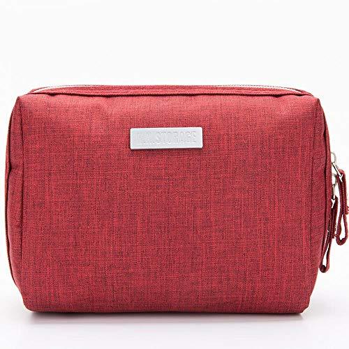 Cosmetic Bag_Large Capacity Travel Cosmetic Bag Waterproof Makeup Clutch Storage Bag, Wine Red