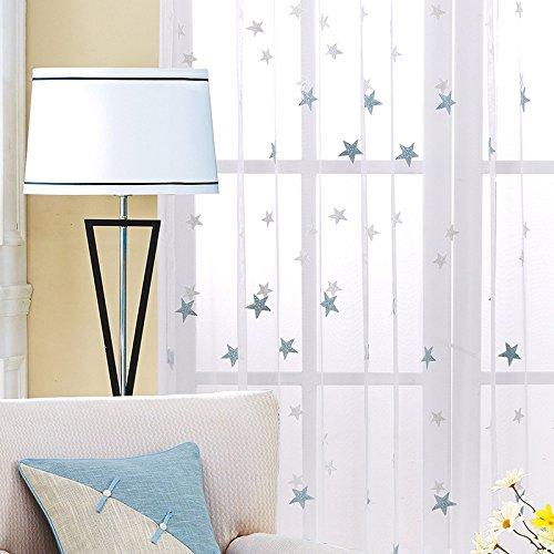 Adaada Vorhänge Sterne Voile Vorhang Ösen Vorhänge Kinderzimmer Bestickte Vorhang Voile Weihnachten (230X140cm)