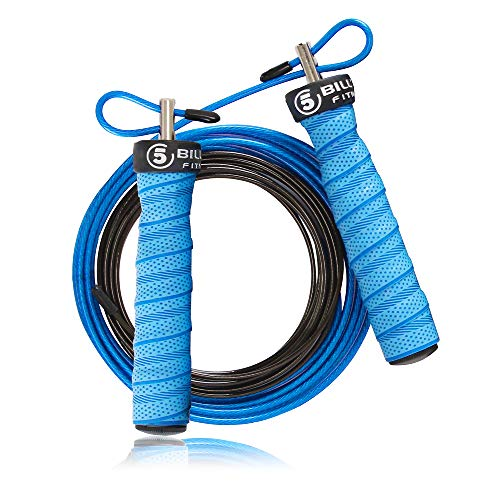 5BILLION Corda per Saltare - Cavo in Acciaio Regolabile Veloce con Cuscinetti a Sfera - Speed Rope Corda Salto Professionale per Fitness, Boxe, MMA, wod (Lago)