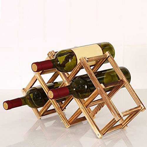 Buding 6 Botellas Ajustable Ajustar Madera Maciza Estantería De Vino De Madera Estantería De Vino De Madera Vinoteca/Estilo Europeo Creatividad Regalo
