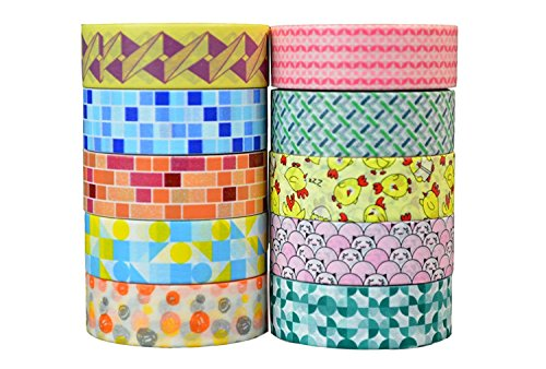 Crafty Rolls Decorative Washi Tape Set of 10 Rolls Assortment of Geometric Designs & Shapes for Scrapbooking & Crafts - Fun Shapes