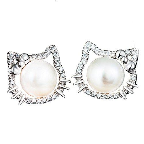 Findout – Pendientes de perlas Hello Kitty, plata de ley y circonita (f1661)