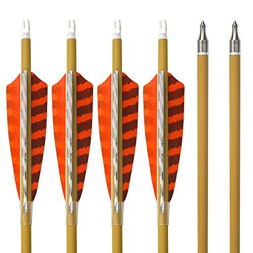 SHARROW 6pcs Carbonpfeile 30 Zoll mit Naturfedern Carbon Pfeile für Bogen Kohlenstoff Pfeil mit Truthahnfeder Spine 500 Bogenpfeile für Compound und Recurvebogen (6pcs)