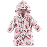 Luvable Friends Unisex Baby Plush Bathrobe, Floral, 0-9M