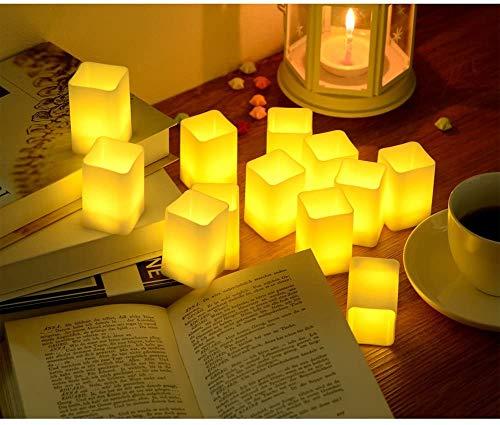 PChero LED parpadeante conjunto de velas sin llama, tealights con pilas LED para fiesta de cumpleaños del banquete Festival Home Decor (juego de 12 piezas, batería incluida, blanco cálido)