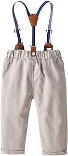 HOSD Pantalones con Correa de algodón para niños Conjunto de Babero Casual para niños Pantalones de Caballero