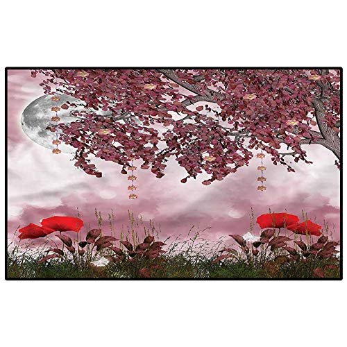 Poppy Camping Rug Outdoors Rugs Dream Garden with Poppies Carpet for Bedroom Kids 6 x 8.8 Ft